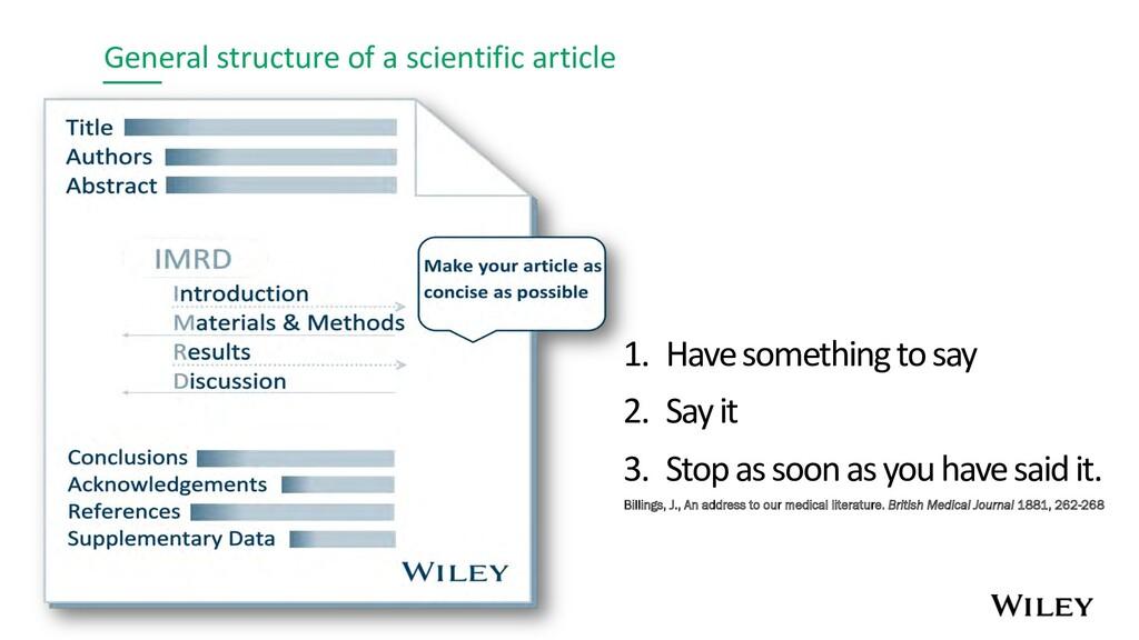 General structure of a scientific article 1. Ha...