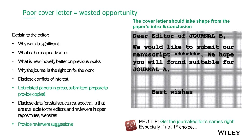 Poor cover letter = wasted opportunity Explain ...