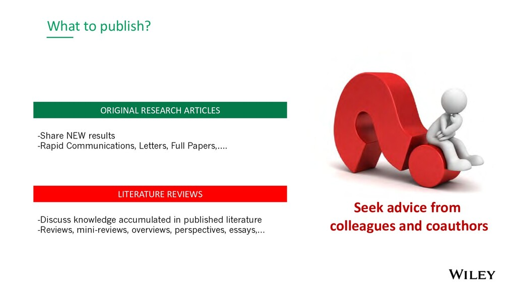 What to publish? LITERATURE REVIEWS -Discuss kn...