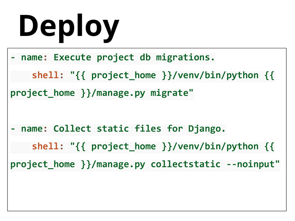 Deploy - name: Execute project db migrations. s...