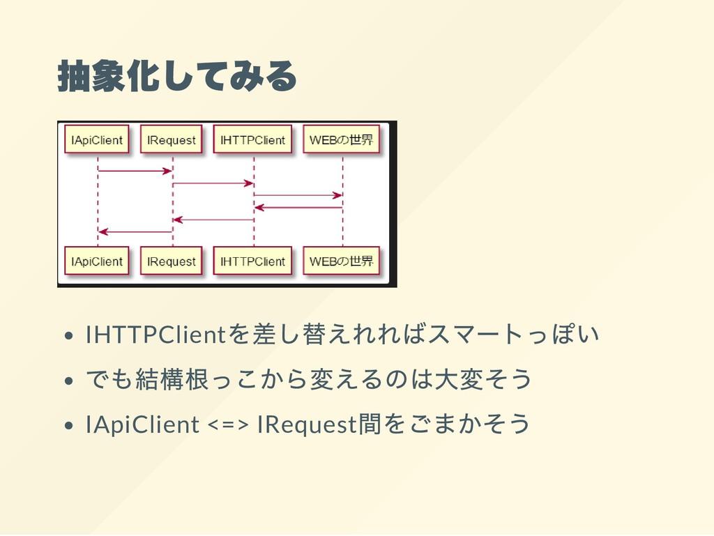 抽象化してみる IHTTPClient を差し替えれればスマー トっぽい でも結構根っこから変...