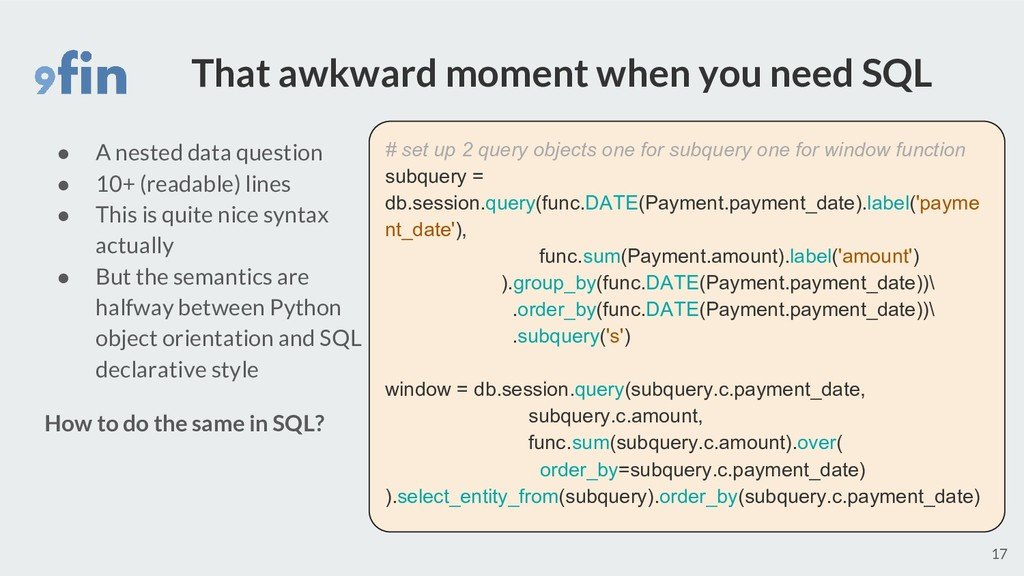 That awkward moment when you need SQL 17 # set ...