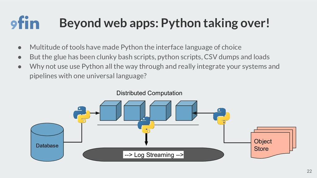 Beyond web apps: Python taking over! ● Multitud...