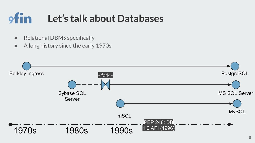 Let's talk about Databases ● Relational DBMS sp...