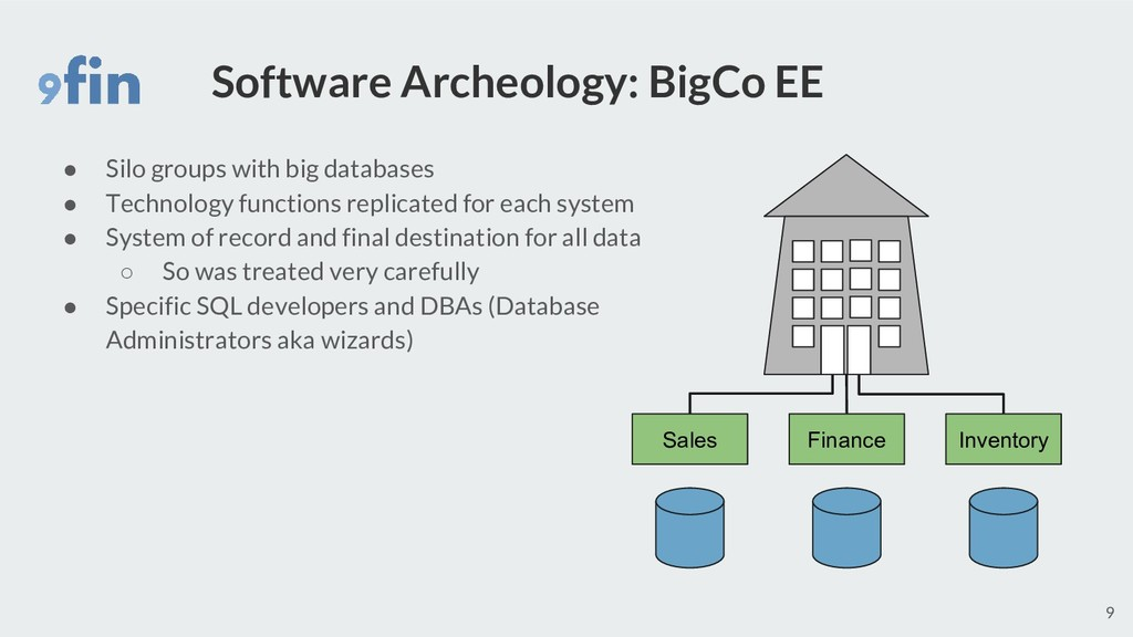 Software Archeology: BigCo EE ● Silo groups wit...