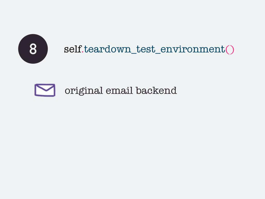 original email backend 8 self.teardown_test_env...