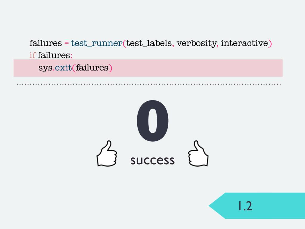 1.2 0 success failures = test_runner(test_label...