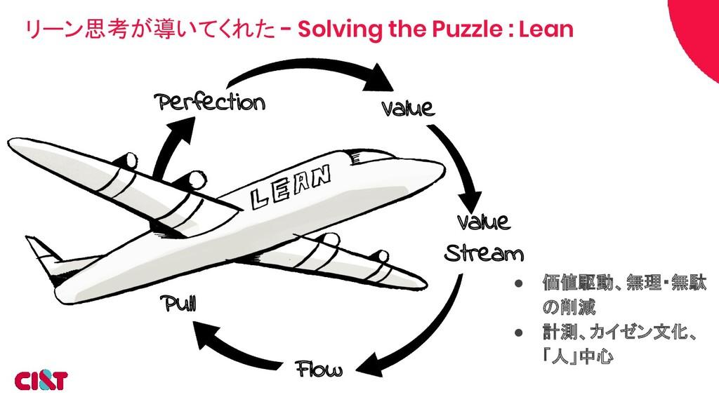 リーン思考が導いてくれた - Solving the Puzzle : Lean ● 価値駆動...