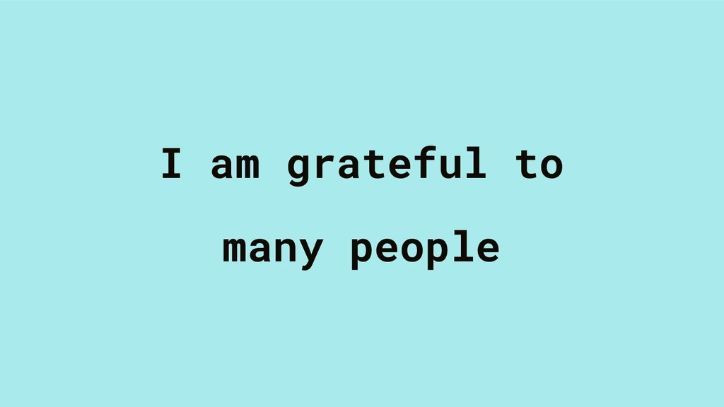 I am grateful to many people