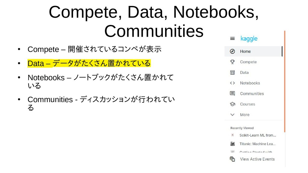 Compete, Data, Notebooks, Communities ● Compete...