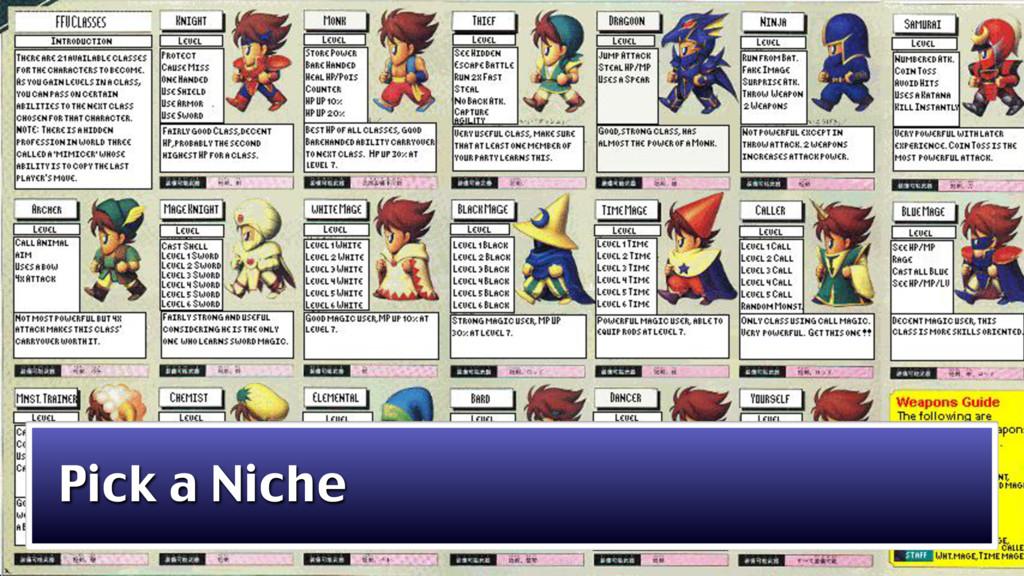 Pick a Niche