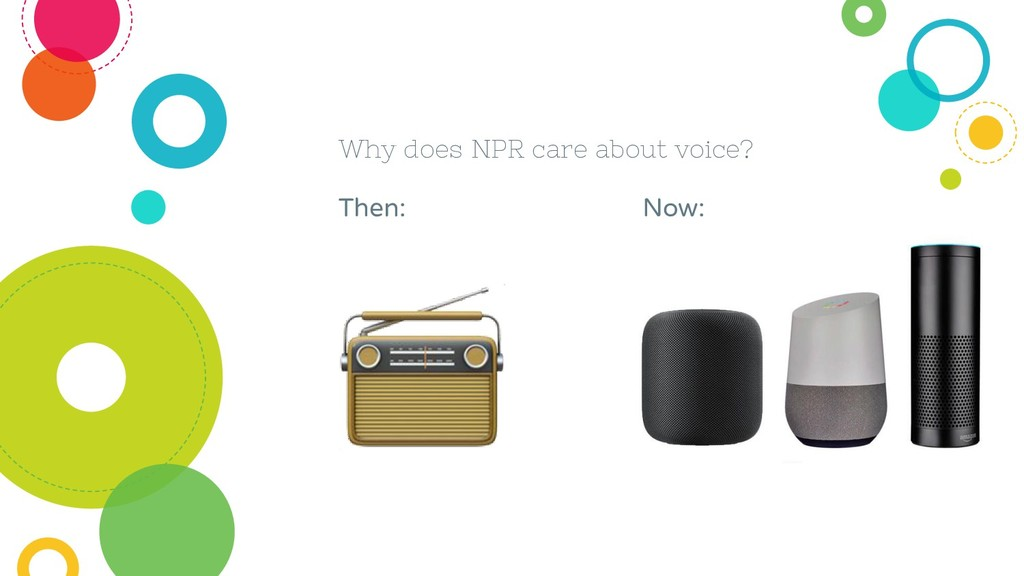 Why does NPR care about voice? Then: Now: