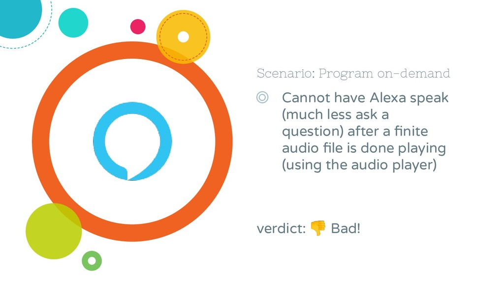 Scenario: Program on-demand ◎ Cannot have Alexa...