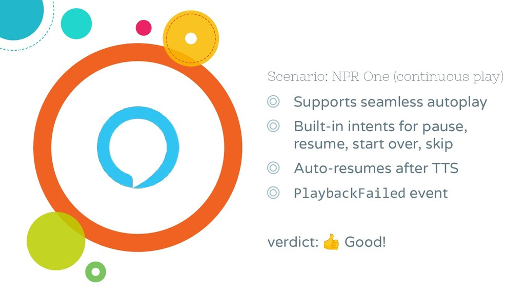 Scenario: NPR One (continuous play) ◎ Supports ...