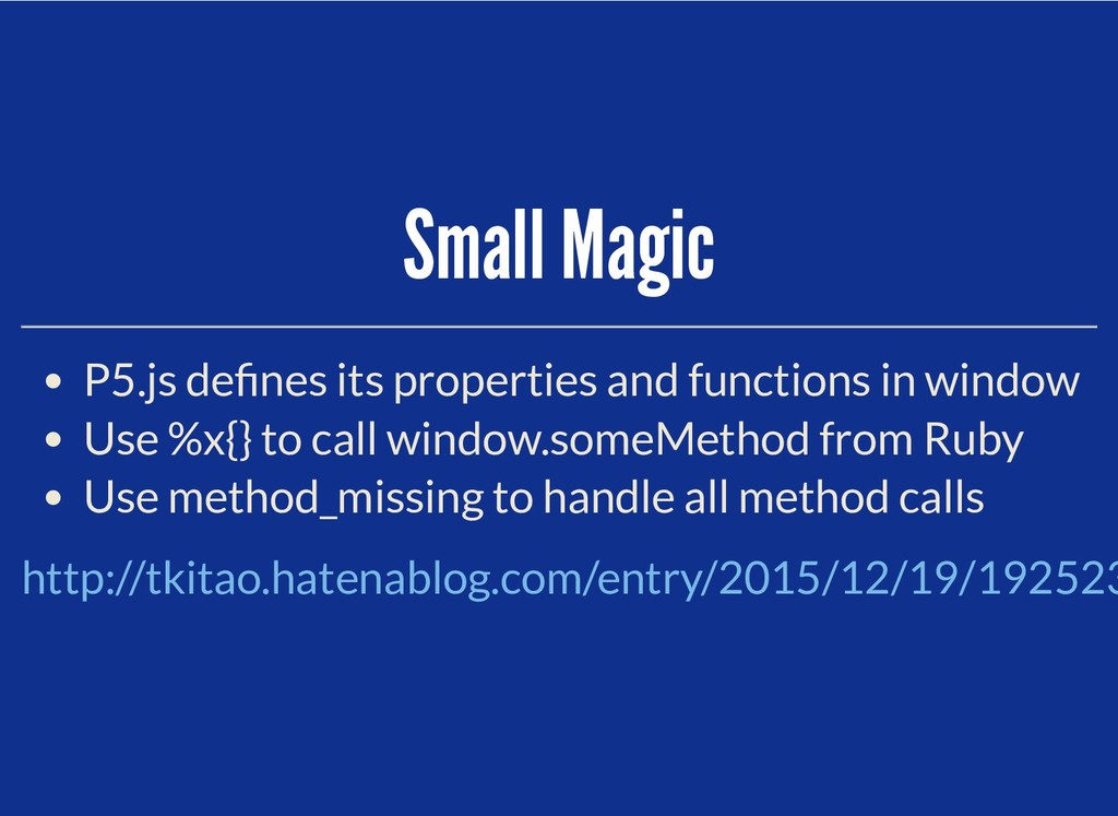 Small Magic Small Magic P5.js de nes its proper...