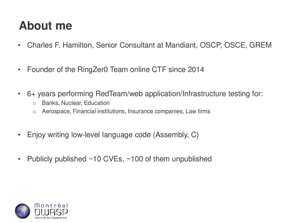 About me • Charles F. Hamilton, Senior Consulta...