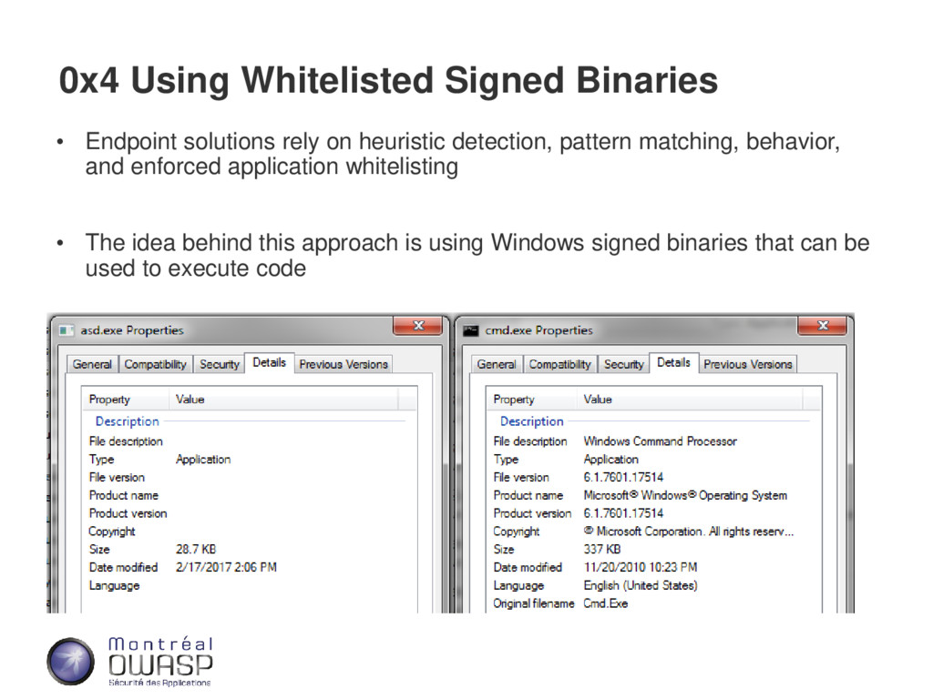 0x4 Using Whitelisted Signed Binaries • Endpoin...
