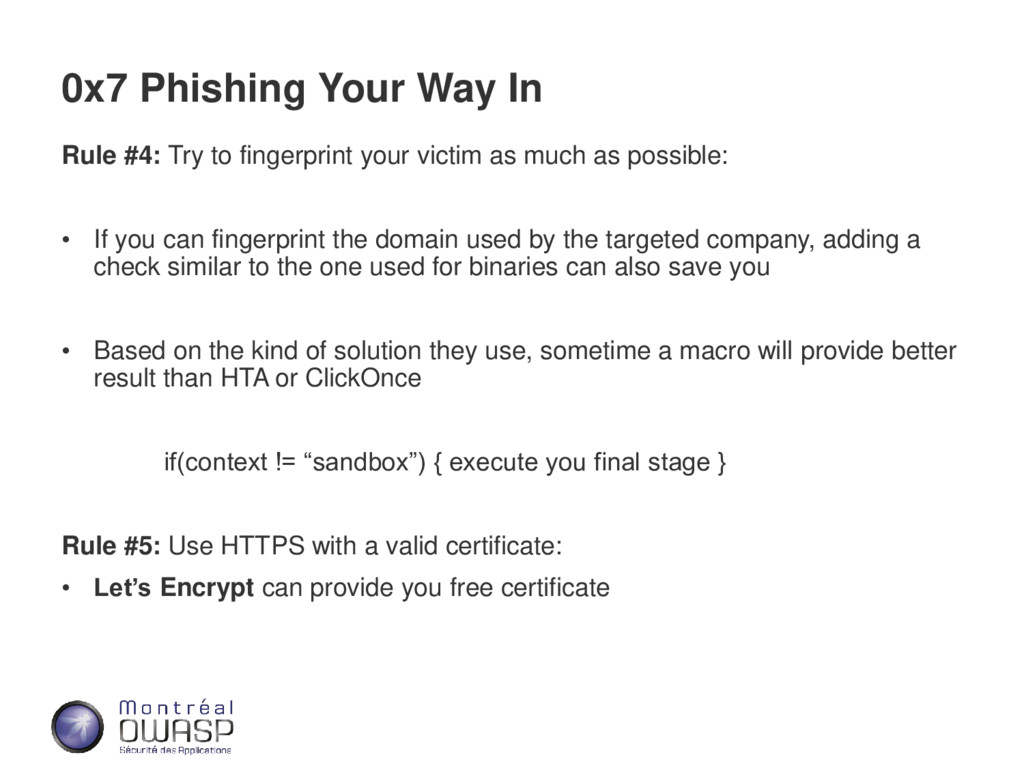 0x7 Phishing Your Way In Rule #4: Try to finger...