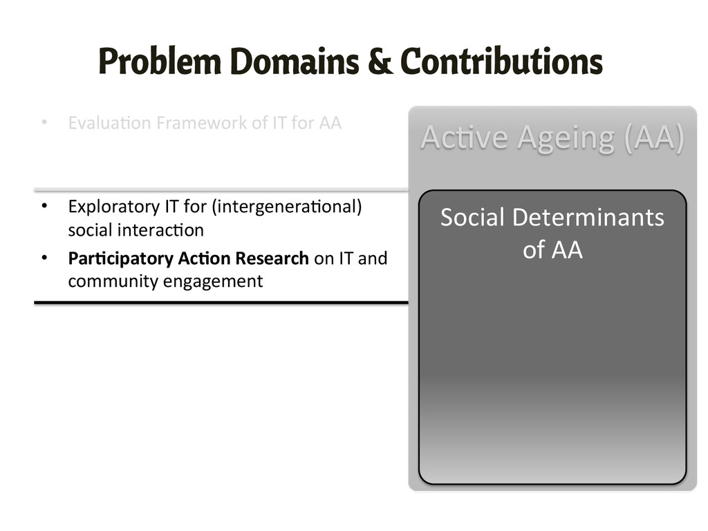 Problem Domains & Contributions • Evalua,on ...
