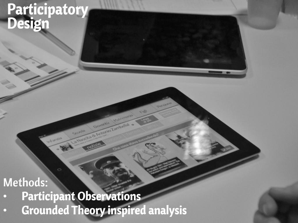 Participatory Design Methods: • Participant Ob...