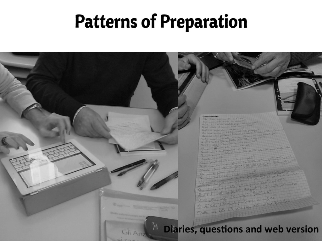 Patterns of Preparation Diaries, ques/ons ...
