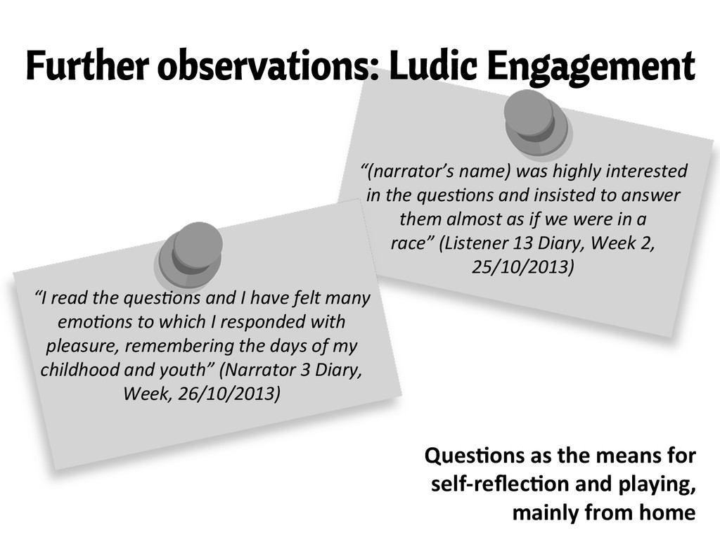 Further observations: Ludic Engagement Ques/ons...