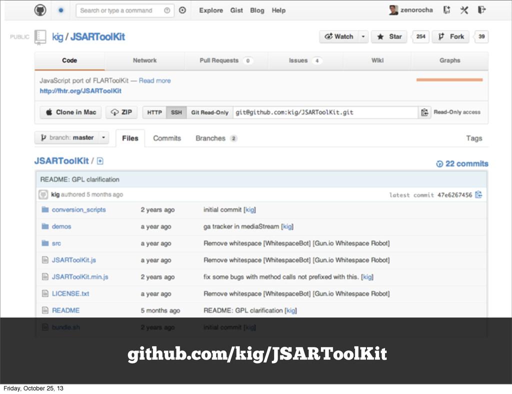github.com/kig/JSARToolKit Friday, October 25, ...