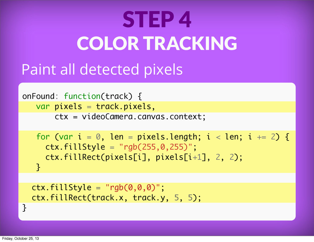 STEP 4 COLOR TRACKING Paint all detected pixels...