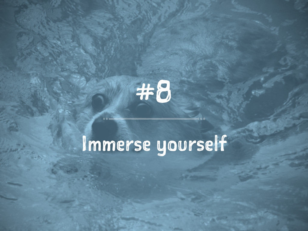 #8 Immerse yourself