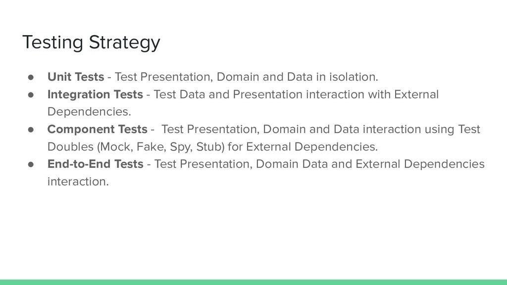 Testing Strategy ● Unit Tests - Test Presentati...