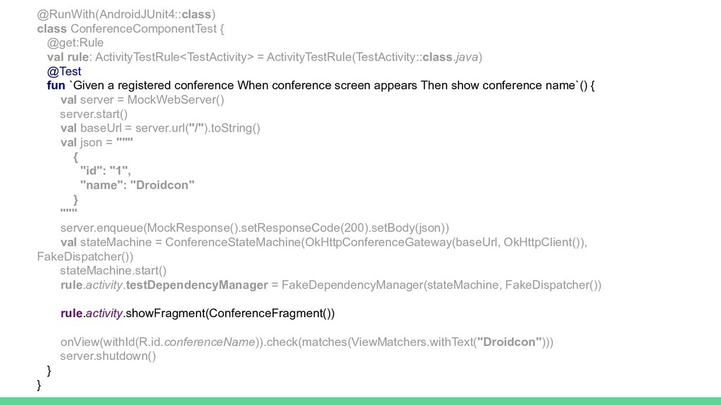 @RunWith(AndroidJUnit4::class) class Conference...