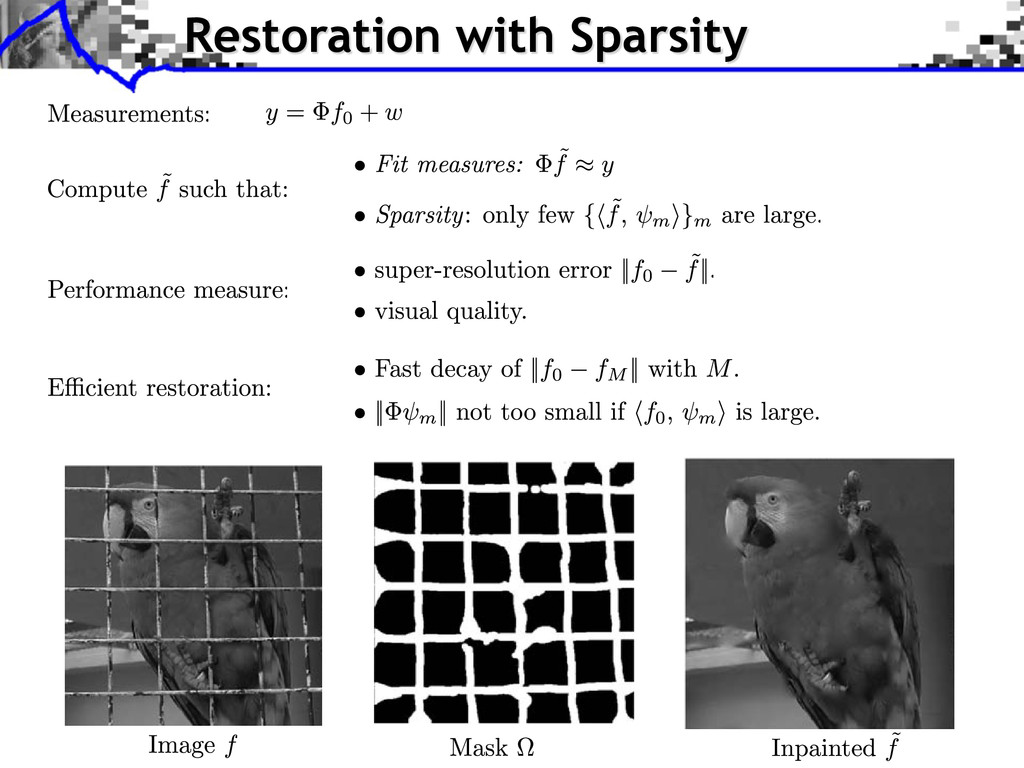 Restoration with Sparsity