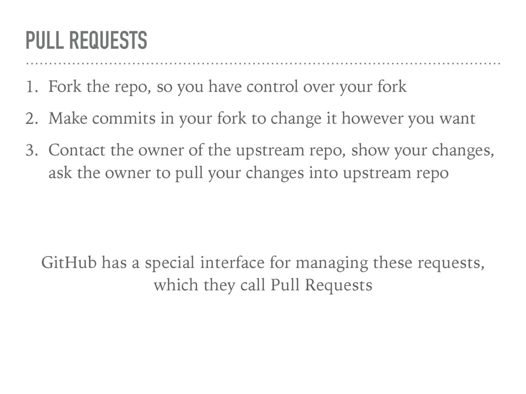 PULL REQUESTS 1. Fork the repo, so you have con...