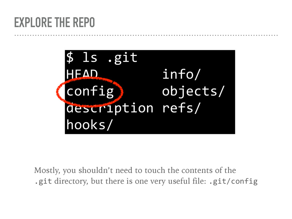 EXPLORE THE REPO $ ls .git HEAD info/ config ob...