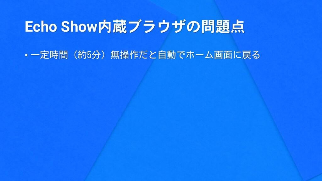 Echo Show内蔵ブラウザの問題点 • 一定時間(約5分)無操作だと自動でホーム画面に戻る