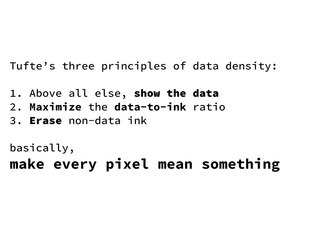 Tufte's three principles of data density: 1. Ab...
