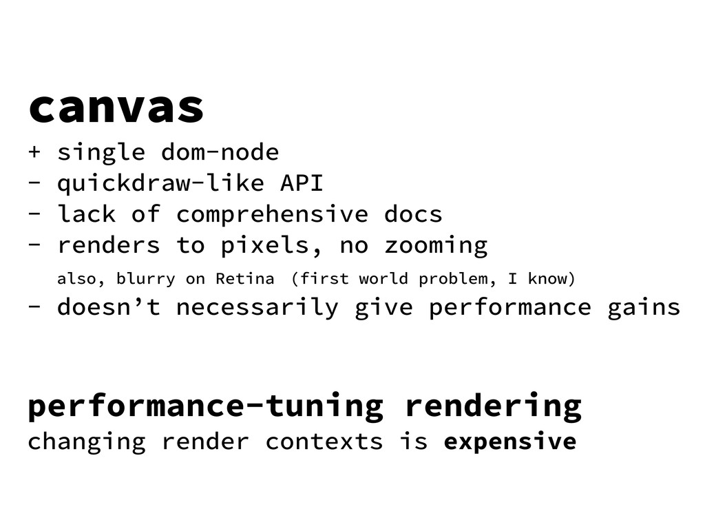 canvas + single dom-node - quickdraw-like API -...