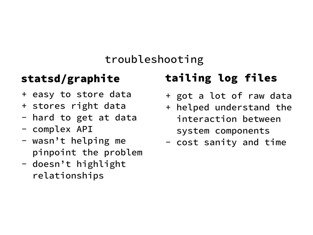 troubleshooting statsd/graphite + easy to store...