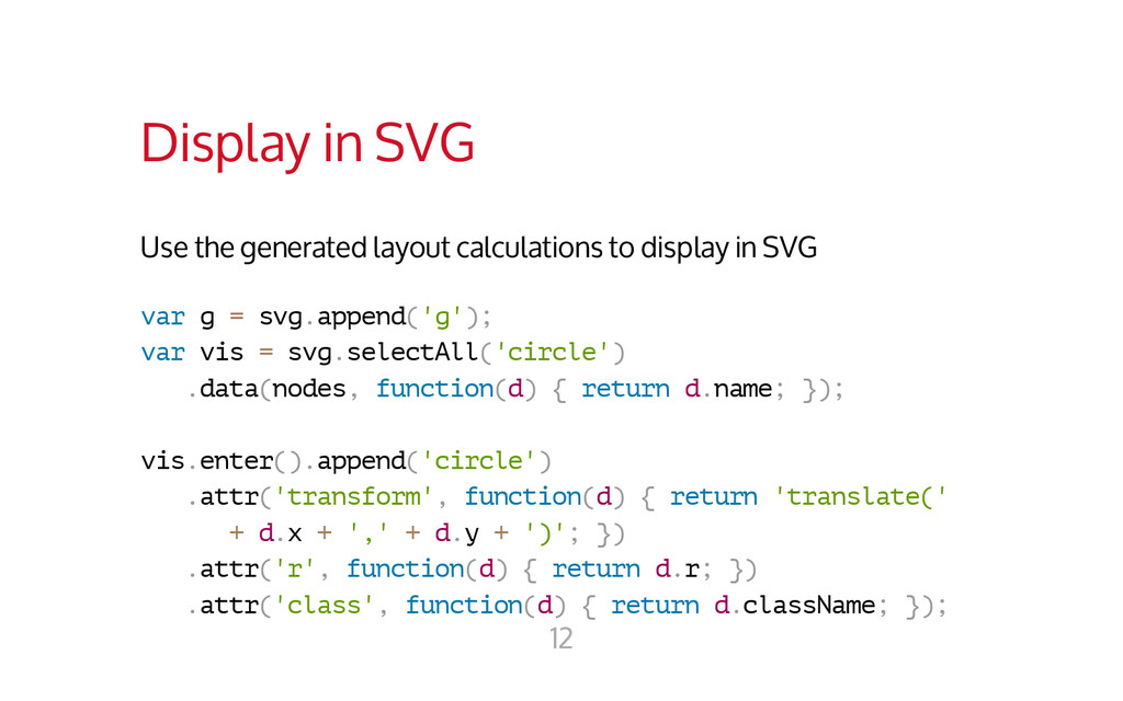 Display in SVG Use the generated layout calcula...