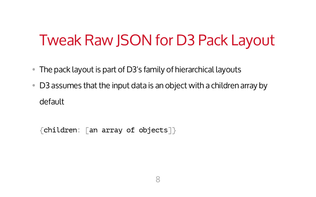 Tweak Raw JSON for D3 Pack Layout • The pack l...
