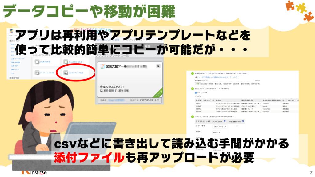 データコピーや移動が困難 7 csvなどに書き出して読み込む手間がかかる 添付ファイルも再アッ...