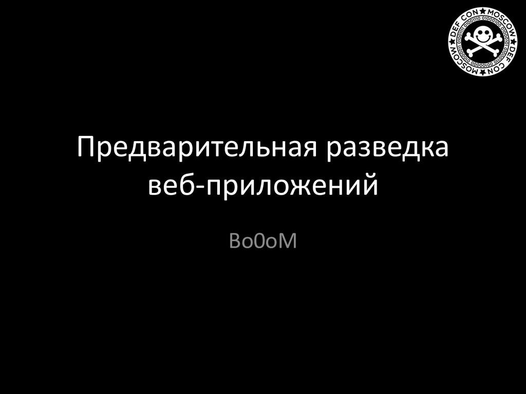 Предварительная разведка веб-приложений Bo0oM