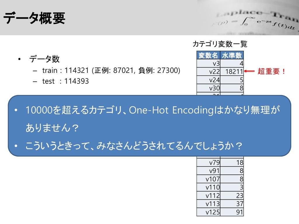 データ概要 • データ数 – train : 114321 (正例: 87021, 負例: 2...