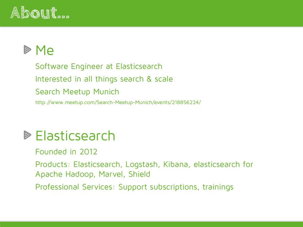 Me Software Engineer at Elasticsearch Intereste...