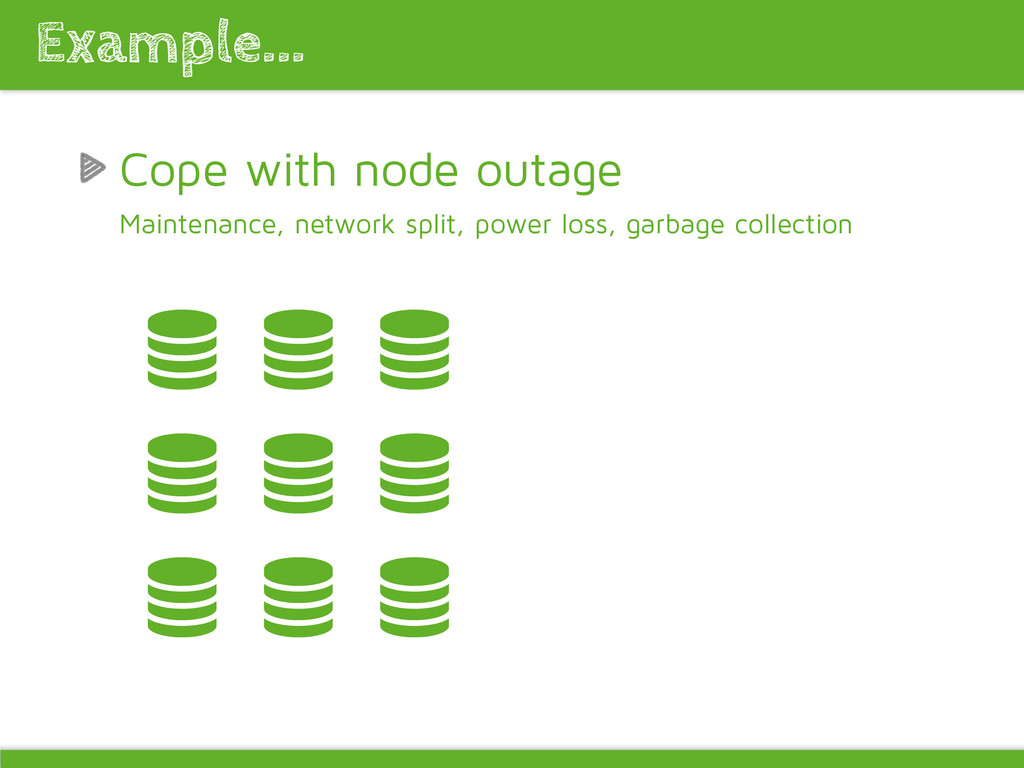 Cope with node outage Maintenance, network spli...