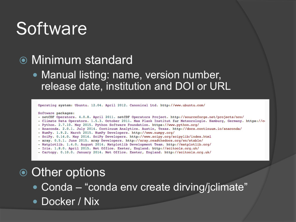 Software ž Minimum standard — Manual listing: n...