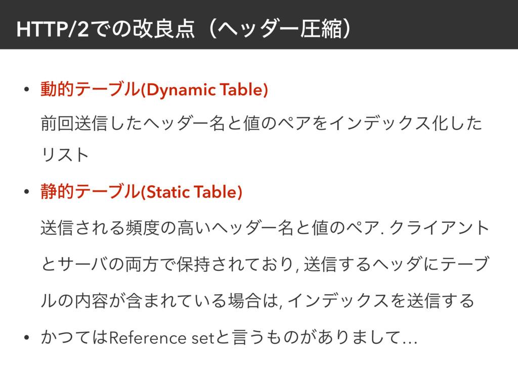 HTTP/2Ͱͷվྑʢϔομʔѹॖʣ • ಈతςʔϒϧ(Dynamic Table) લճ...