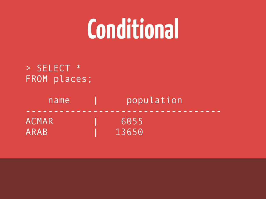 Conditional > SELECT * FROM places; ! name | po...